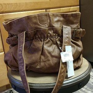 NWT Vegan hobo bag, distressed look,2 straps